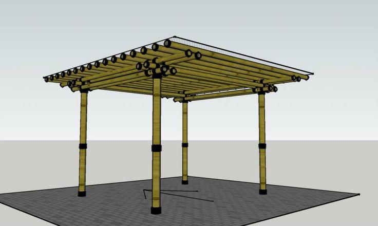 rumahSKETCH.com: Carport Bambu Jarak Tiang 2,5 x 3 M
