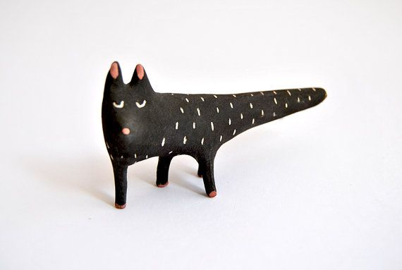 Black Cat Ceramic Miniature with Black Engobe and Sgraffito. Special Halloween. Made To Order on Etsy, $15.34