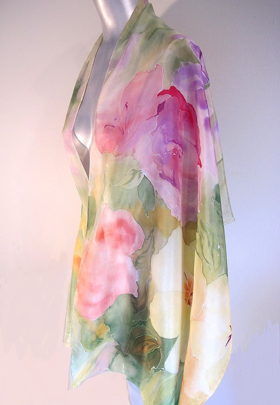 Floral 100 Silk HandPainted Scarf/ Shawl by VivienPollackDesign, $128.00