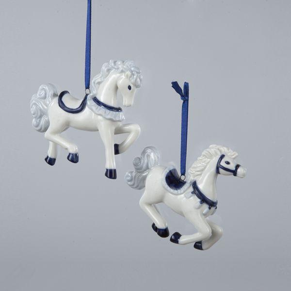 "3""PORCELAIN #DELFT BLUE HORSE ORNAMENTS"