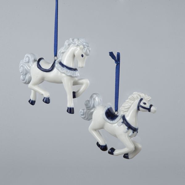 "3""PORCELAIN #DELFT BLUE HORSE ORNAMENTS"