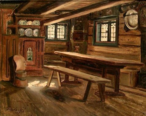 Hjørne av en bondestue, Bolkesjø d'Adolph Tidemand