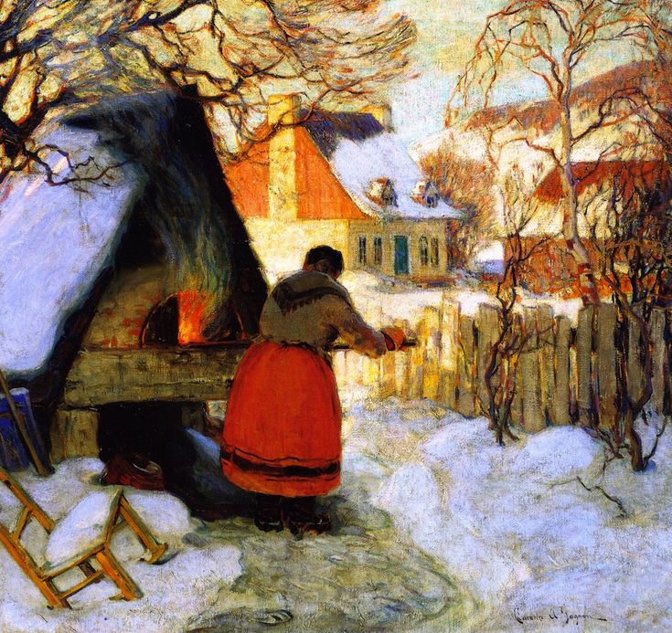 Clarence Gagnon -Heating the Oven, Winter Scene,1923