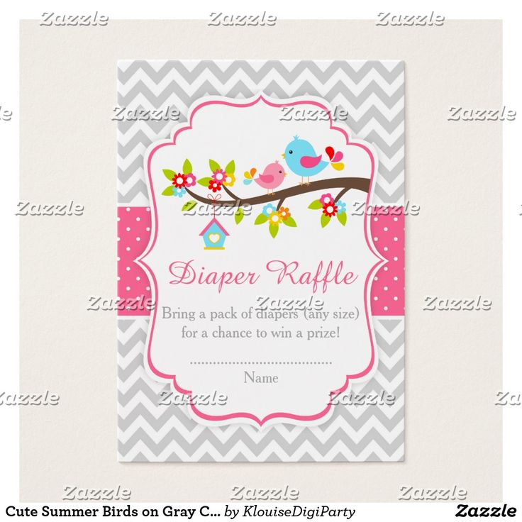 Cute Summer Birds on Gray Chevrons Diaper Raffle Business Card