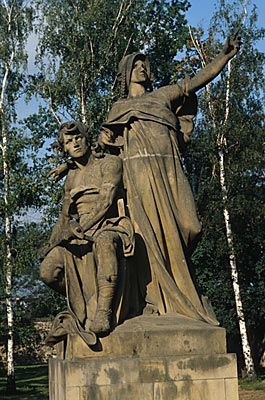Prague: The statue of Josef Myslbek on the Vysehrad shows Libuse, the wise seer