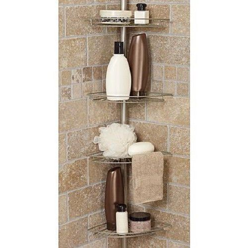 Bath Shower Caddy Corner Tension Rod Bathtub Soap Shampoo Organizer Shelf S