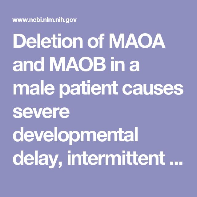 Deletion of MAOA and MAOB in a male patient causes severe developmental delay, intermittent hypotonia and stereotypical hand movements.  - PubMed - NCBI