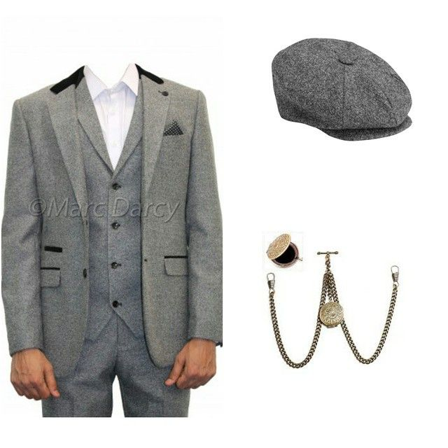 Inspired by the Peaky Blinders Tweed three piece suit by Marc Darcy Tweed bakerboy cap finshed with a dapper pocket watch and chain #streetstyle #streetfashion #mensfashion #menstyle...
