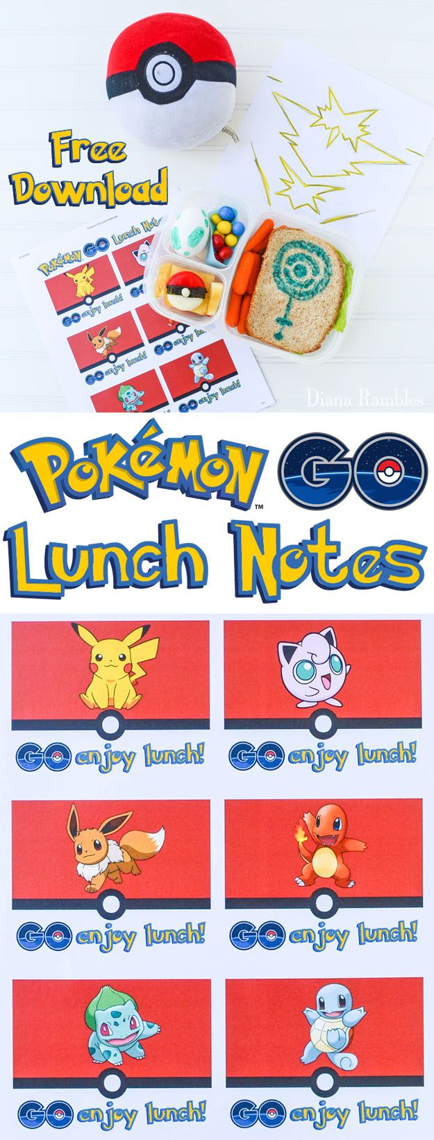 Free Pokémon GO Lunch Box Notes Download - Create a fun lunch with these free…