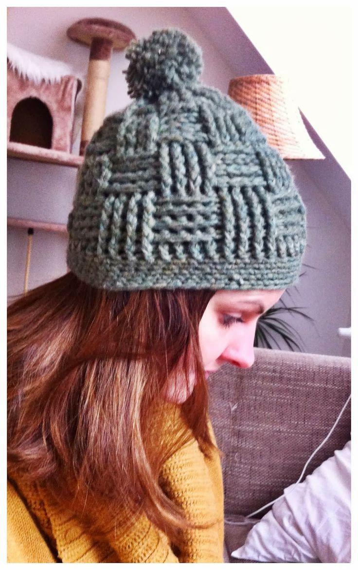Bommelmütze Korbmuster - Beanie crochet