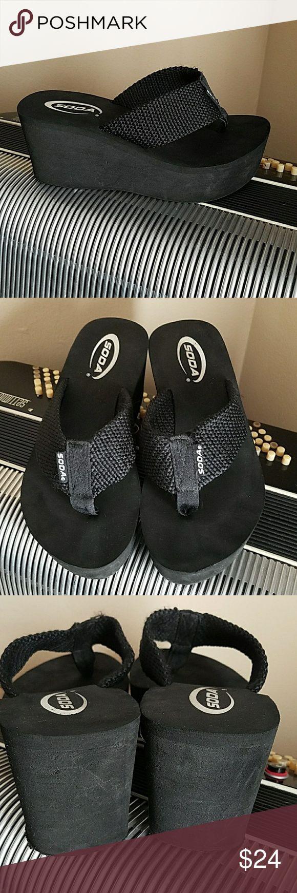 SODA BLACK WEDGE WEAVE FABRIC FLIP FLOPS SODA BLACK WEDGE WEAVE FABRIC FLIP FLOPS.  Worn a handful of times.   Size 8 Soda Shoes Sandals