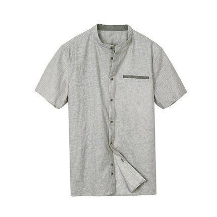 Summer Men's Short-sleeve Shirts Men Gray Breathable Shirts Male Slim Shirt Fashion Style