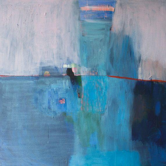grande stampa astratta della pittura blu dipinto stampa
