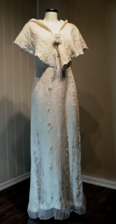 Felted white dress from Linda Borkamo