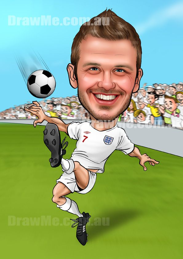 David Beckham caricature. DrawMe.com.au. Any theme, any body, your head hand drawn by talented artist.