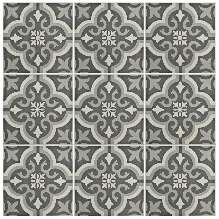 Merola Tile Braga Black Encaustic 7 3 4 In X 7 3 4 In