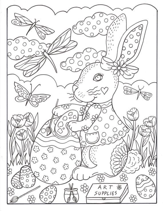 Bunny Love 10 Digital Coloring Pages Downloads Digi Stamps Etsy Easter Coloring Pages Printable Easter Colouring Coloring Pages