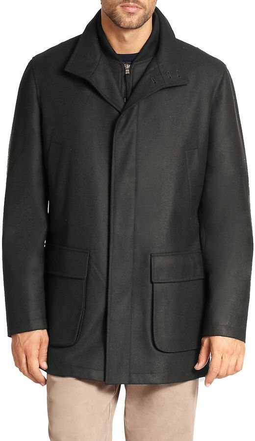 Saks Fifth Avenue Collection Men's Wool Overcoat - Black, Size x-large