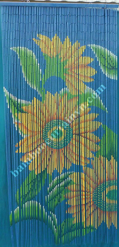 Deluxe decorative bead door curtain SUNFLOWERS Room Divider or Wall Art