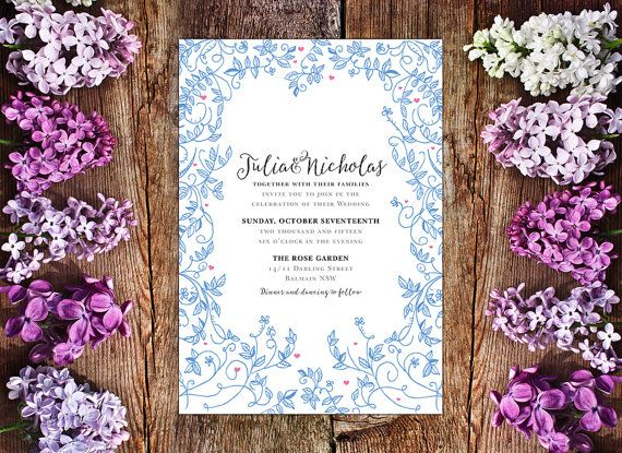 This is a beautiful invite of blue vines and leaves – a maze of love.  All my invites are my original designs. Most of them contain original