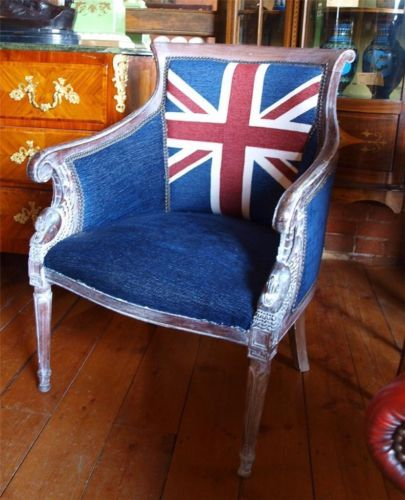 Hand Carved Wooden Armchair Chair With Union Jack Fabric Swans Birds