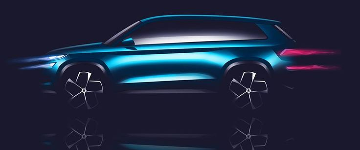 The side view also illustrates the strong SUV character of ŠKODA's VisionS. The sharp tornado line spans the entire length of the powerful car body. The wheel arches are angular, emphasizing the off-road character. The upper-shoulder contour forms a deep groove over the sills. The quickly sloping roofline with the long spoiler and drawn-in rear visually accelerate the show car even when stationary #skoda #VisionS #sketch #designstudy #conceptcar