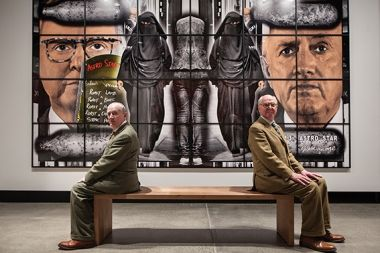 Gilbert & George, The Art Exhibition. Installation view Mona. Photograph Mona/Rémi Chauvin. Image Courtesy Mona, Museum of Old and New Art, Hobart.  Review in Eyeline contemporary visual arts, issue 85.