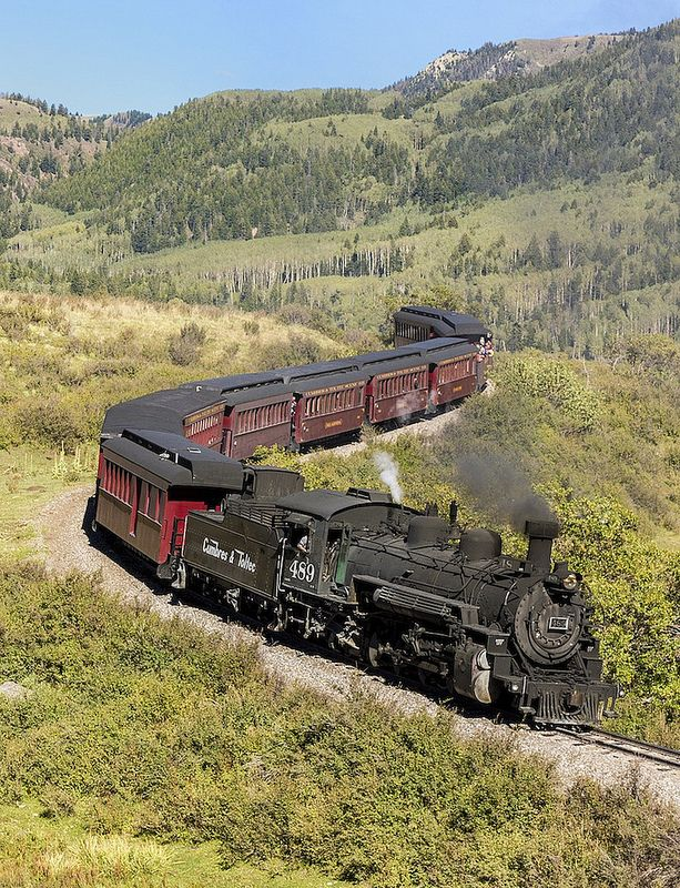 The trip down the hill from Cumbres to Chama is much quicker than moving up the hill. Here 489 glides through an S-curve just a few minutes past Windy Point.