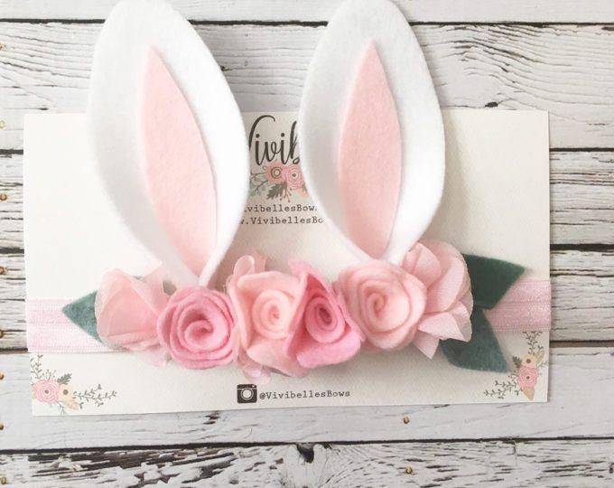 Diadema de orejas de conejito, traje de Bunny, Bunny venda, Baby Bunny orejas, venda de Pascua, conejo diadema, corona Floral