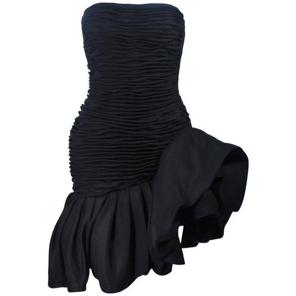 Preowned Ungaro Black Silk Gathered Cocktail Dress With Ruffle Detail... ($2,295) ❤ liked on Polyvore featuring dresses, black, emanuel ungaro dress, pre owned dresses, silk ruffle dress, flouncy dress and frill dress