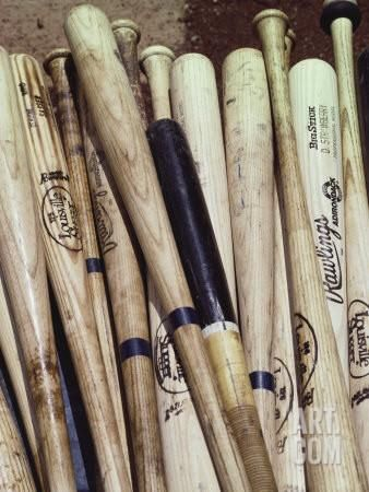 Baseball Bats Photographic Print by Paul Sutton at Art.com