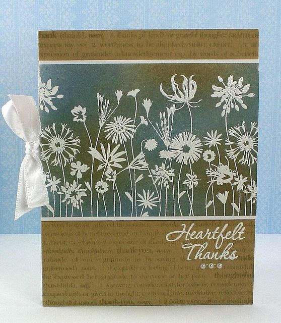 Heartfelt Thanks by Lisa Carroll ~ A Blog named Hero ... The embossed resist in the centre--perfect inking around it!