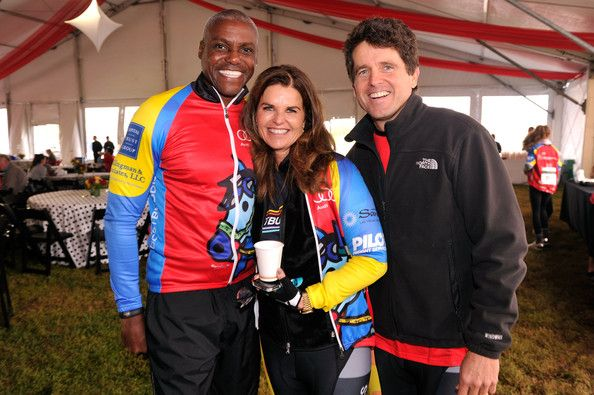 Olympian Carl Lewis, Maria Shriver and Mark Shriver