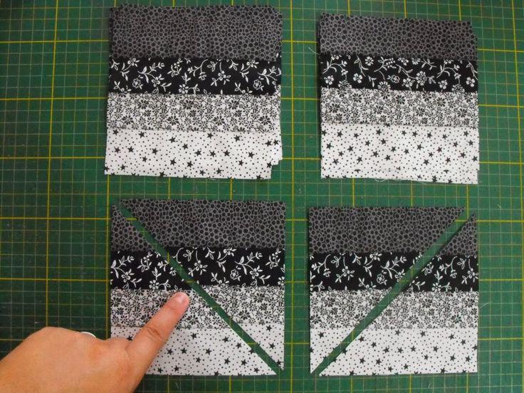 Vejam que Seminole fácil e o resultado fica bem legal!!     Corte direitinho faixas de 4,5 cm x 50 cm e costure, direito com direito,   fo...