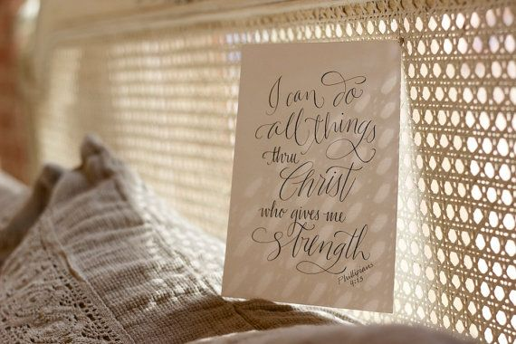 Philippians 4:13 - Hand-Lettered Scripture Print - Bella Scriptura Collection from Paperglaze Calligraphy