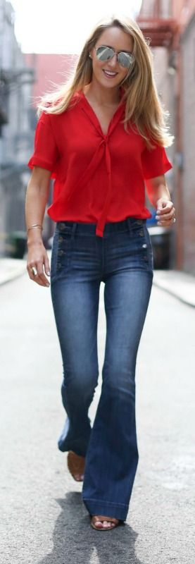 flare leg jeans with button detail, red blouse + mirrored sunglasses {express | @expresslife}