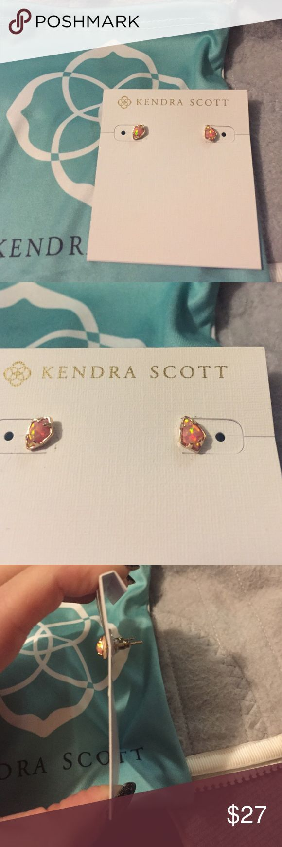 Kendra Scott Gina Mini Opal Studs These have been worn two or three times and are in excellent condition. They are a coral/pinkish opal set in 14k plated ROSEgold but look close to regular gold since they're so tiny! ADORABLE earrings and perfect for your second hole! Kendra Scott Jewelry Earrings