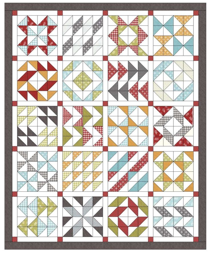 """Block of the Month #1 (12 months). June 2015 - May 2016. Pickup - First Tuesday of each month starting on Tuesday, May 5, 2015. Our first BOM will be featured in two colour ways.....bright and modern with a white background (pictured above) or traditional country with a soft cream background. Sign up fee: $10. Finished Size: 80"""" x 98"""", Cost: 19.50/month"""