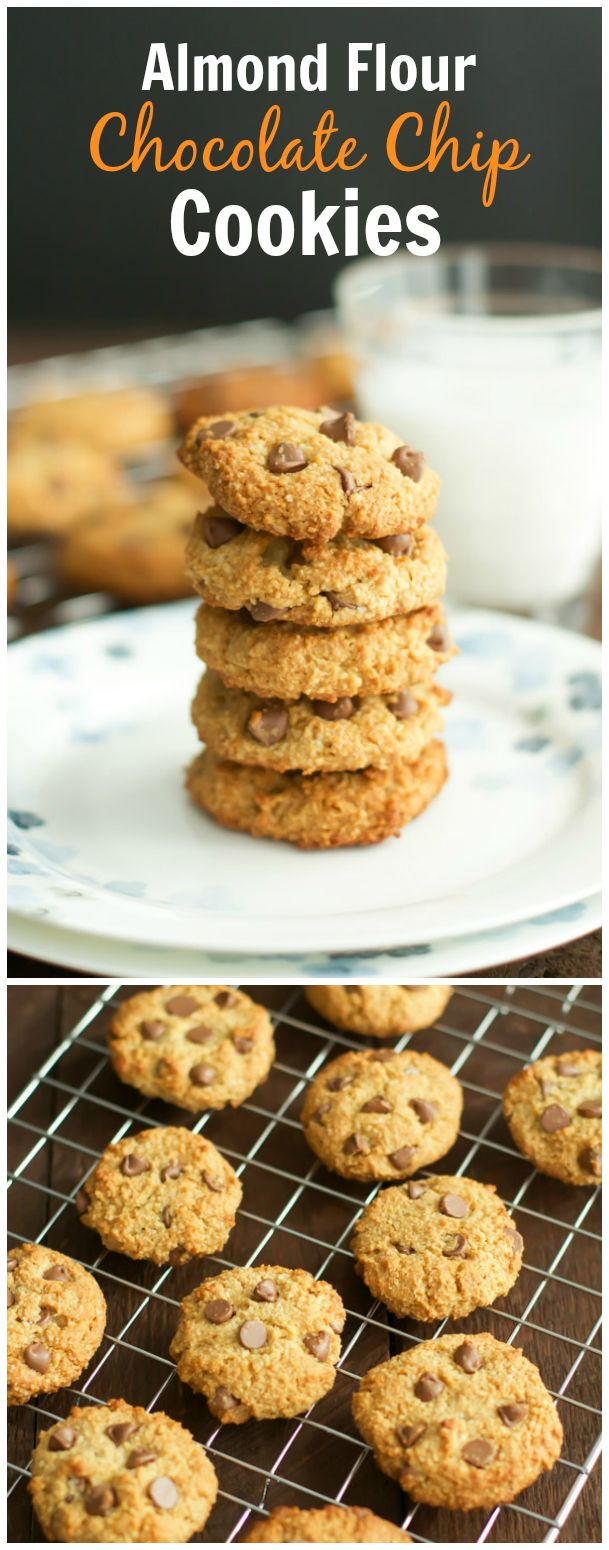 Almond Flour Chocolate Chip Cookies. They are  soft and chewy and full of protein from the almond flour. primaverakitchen.com
