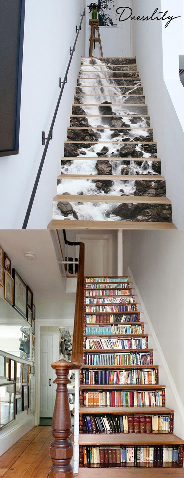 Dekoration Wasserfalldruck abnehmbare Treppe Aufkleber, #abnehmbare #Aufkleber #bookshelfdec…