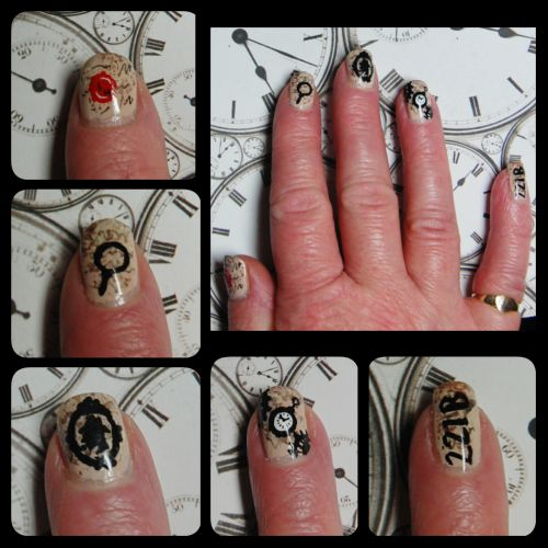 These are inspired by the Sherlock Holmes books for my Mum and her friend's (painted on her nails) murder mystery weekend at Park Plaza Sherlock Holmes Hotel, London.The background of the design is inspired by old book pages and each nail has a different item painted on it. The thumb is a red wax seal with 'S H' on it, the index finger is a magnifying glass, the middle finger is a classic Sherlock Holmes silhouette cameo, the ring finger is a pocket watch with accompanying gears and finally…