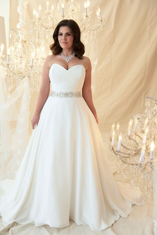 A line plus size wedding dress. Click on the image to see our full gallery of plus size wedding dress inspirations.