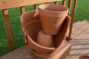 Broken pot miniture gardens....double tiered option