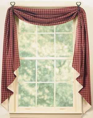 Sturbridge Fishtail Swag, by Park Designs. The Sturbridge Collection features a classic primitive plaid, with either barn red, black, navy, mustard, or leaf green paired with light tan. This is for the Wine fishtail swag, which is a barn red. Measures 145 inches long and 25 inches wide. Great for single or double windows! Fully lined, with beige fabric on t...