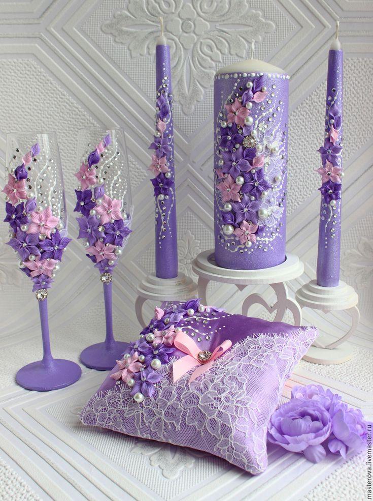 Купить или заказать Комплект свадебных аксессуаров в интернет-магазине на Ярмарке Мастеров. сиреневый и розовый