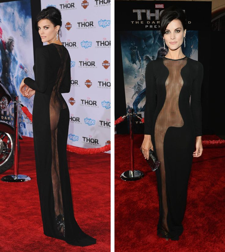 """Jaimie Alexander -- Jaimie Alexander: Wearing a tacky mesh monstrosity from Azzaro to the Hollywood premiere of """"Thor: The Dark World"""" WORST..and nasty."""