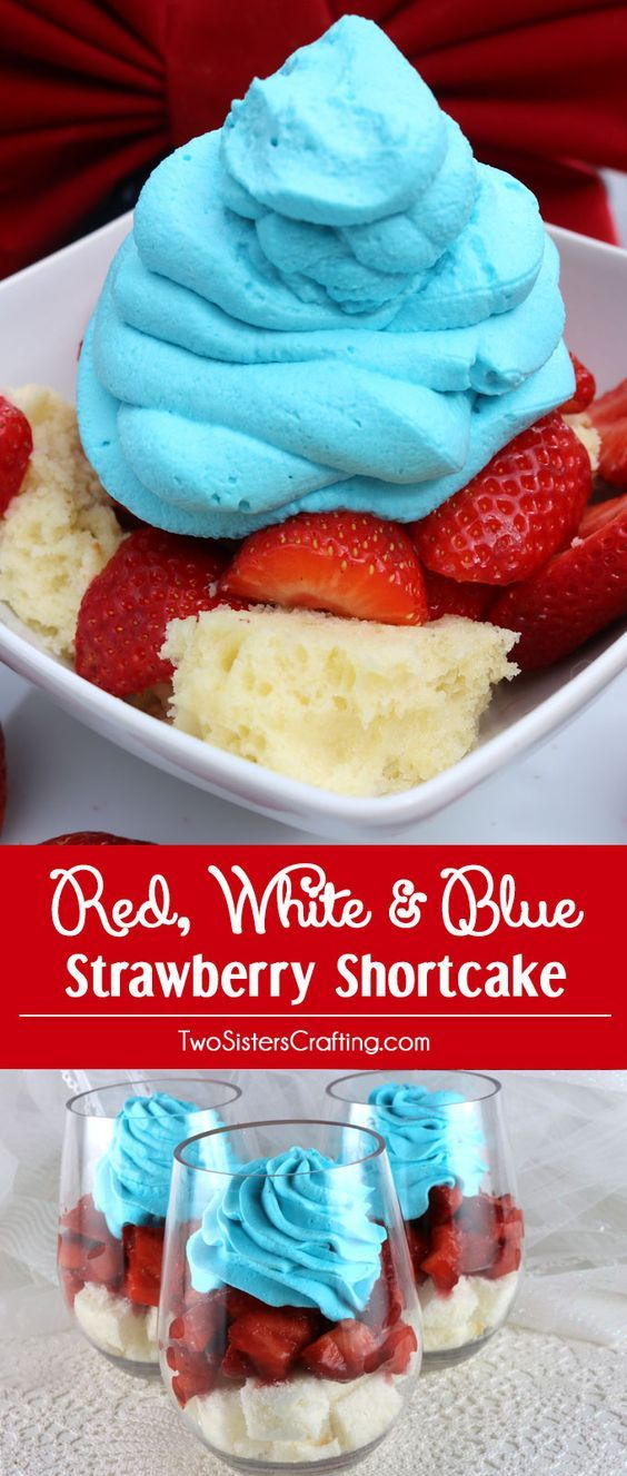 Wow your family and party guests with our Red White and Blue Strawberry Shortcake - a fun and patriotic twist on a classic summer dessert. It would be a great 4th of July dessert, a Memorial Day BBQ treat or even an Olympics viewing party snack.