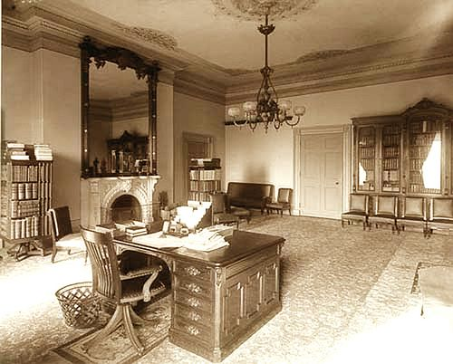 """1889 White House Lincoln """"bedroom"""" - it was a study, not a bedroom in Lincoln's Day (although today it does contain a bed Lincoln slept in)."""