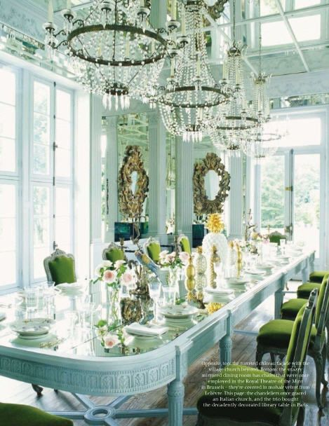 Amazing! Mirror top table and rows of beaded chandeliers...love...: Mirror, Tables Sets, Blue, Colors, Dinners Parties, Dining Rooms Tables, Chateau, Green Chairs, Elegant Dining