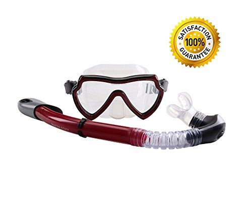 Snorkel Set for Adults - WATERFOXY - Wide Panoramic View Diving Mask - with Dry Snorkel with Purge Valve and Anti-Splash Guard - with a Meshbag - http://scuba.megainfohouse.com/snorkel-set-for-adults-waterfoxy-wide-panoramic-view-diving-mask-with-dry-snorkel-with-purge-valve-and-anti-splash-guard-with-a-meshbag/